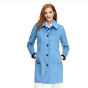 Lands End Blue Wool Blend Car Coat